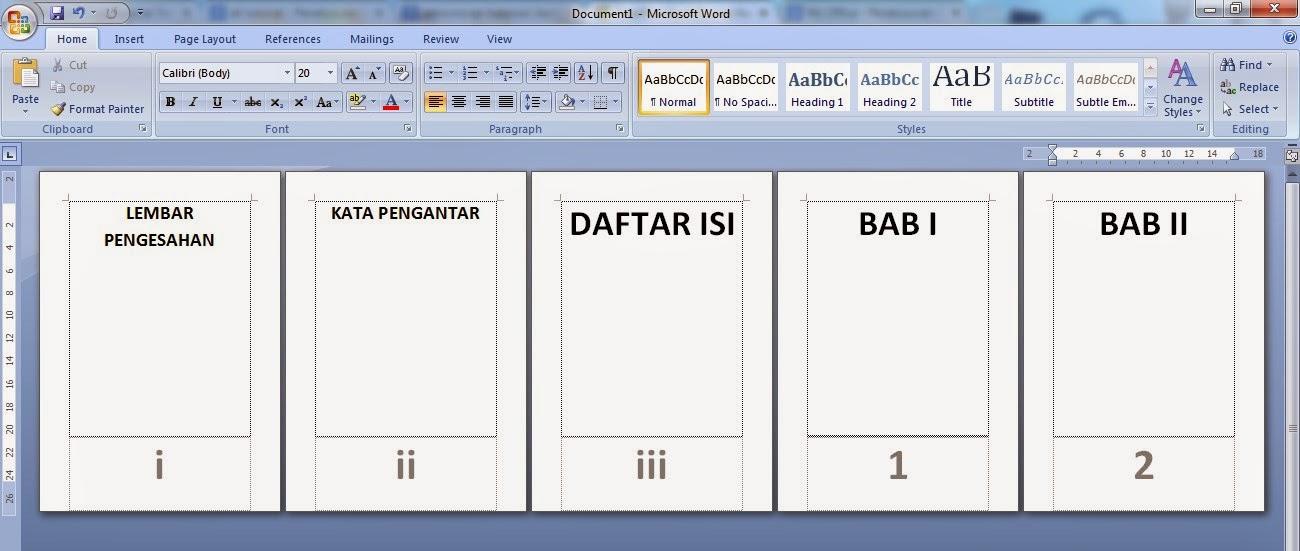 Membuat Nomor Halaman Romawi dan Angka MS Word