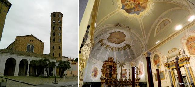 A fachada da Basílica de Sant'Apollinare, em Ravena, Itália, e a sacristia da igreja