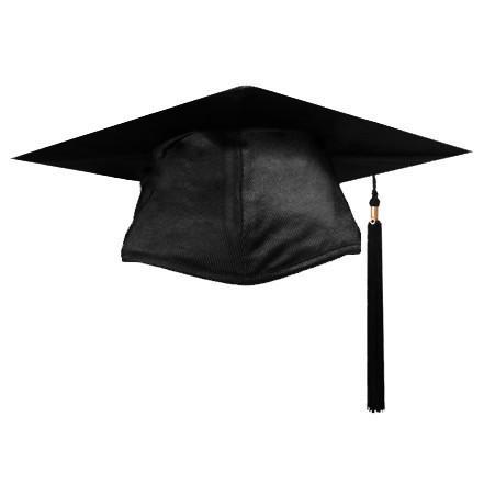 A graduation cap (credit to https://www.capandgowndirect.com/products/shiny-black-graduation-cap-and-tassel)