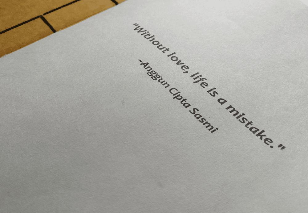 Quote Anggun Cipta Sasmi yang ada di Purwanto's Notes notebook handmade by JL Keren Creative
