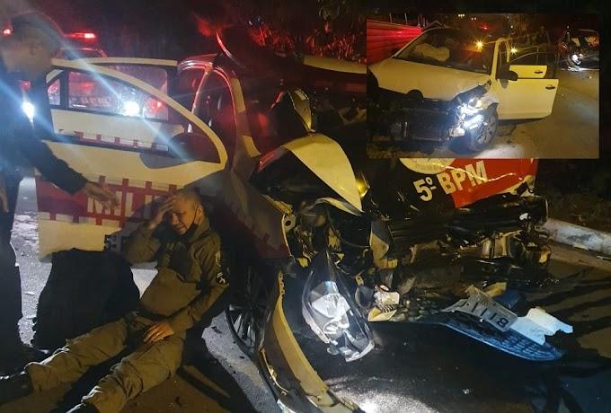 Suspeitos sequestram motorista por aplicativo e colidem em viatura da PM