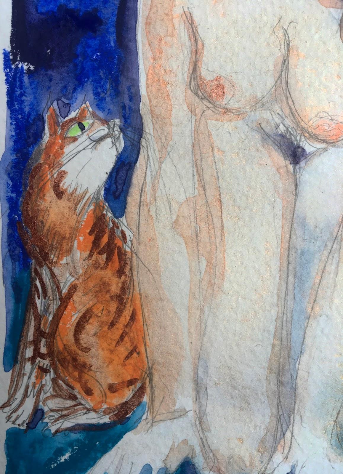 Nu au chat roux (détail)