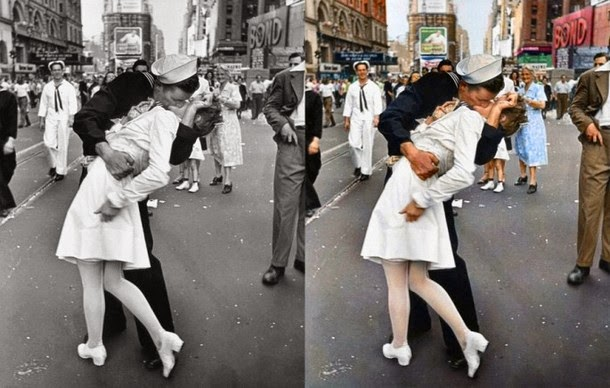 28 Realistically Colorized Historical Photos Make the Past Seem Incredibly Alive - Kissing the War Goodbye, 1945