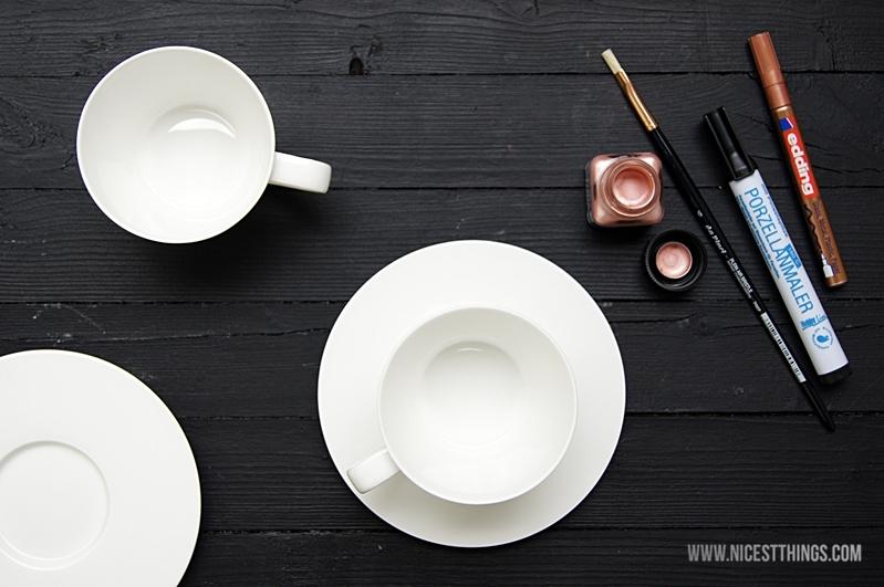 Porzellan bemalen DIY Geschirr Kupfer Material