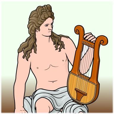 竪琴を持つギリシャ神話のアポロン