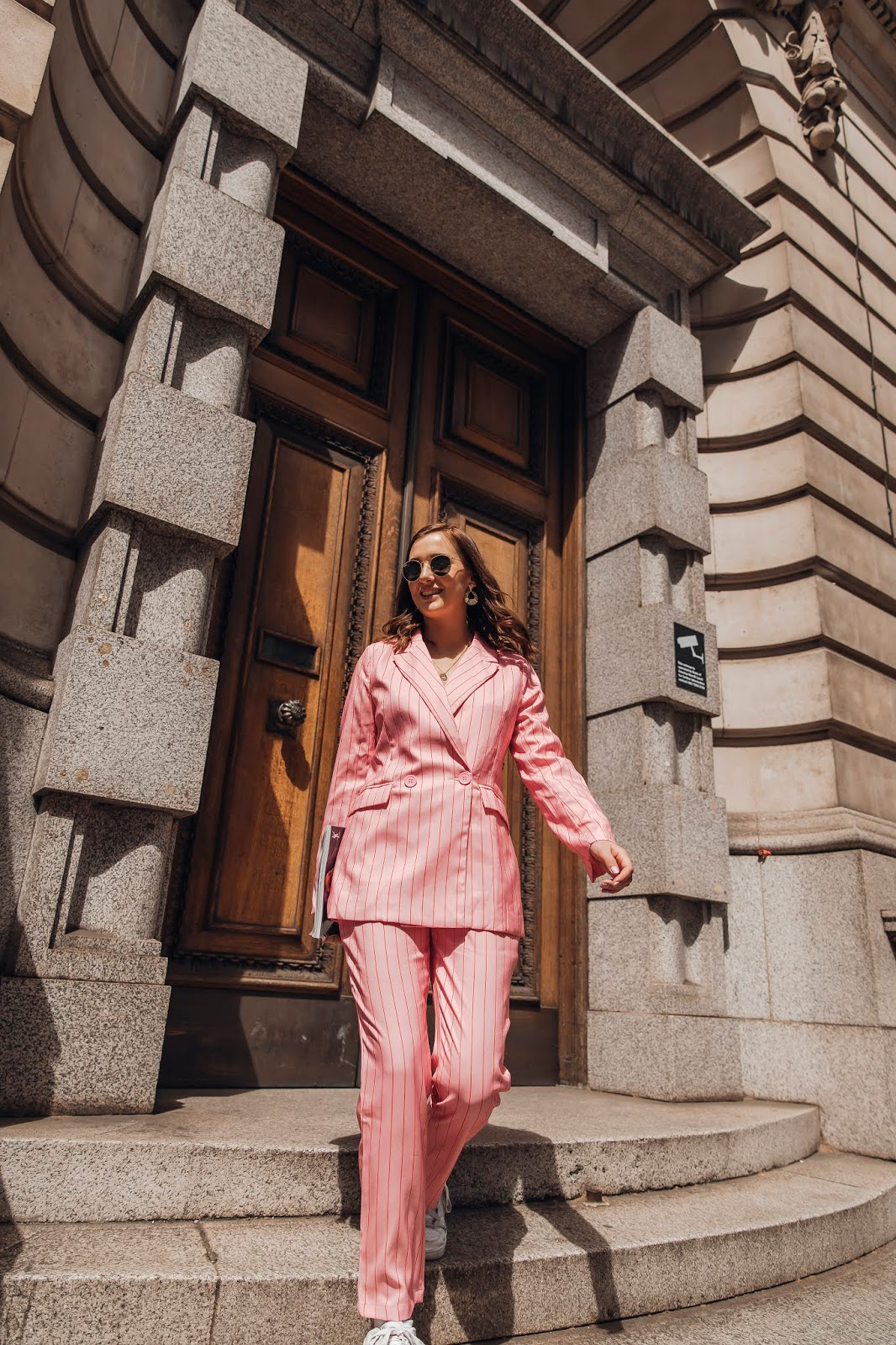 Nasty Gal Pink Striped Suit // London Street Style Outfit // Lauren Rose Style Blogger