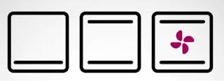 Primer cuadrado con linea horizontal abajo, otro con linea horizontal arriba y abajo, y otro igual pero con un símbolo de ventilador en medio.