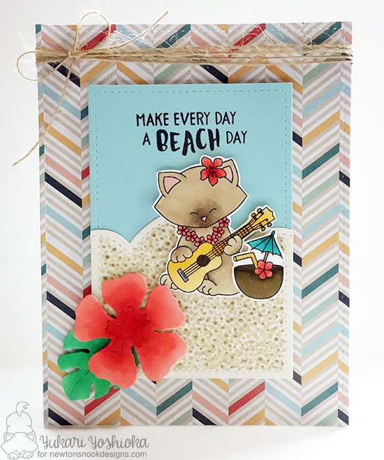 Cat playing ukulele Card by Yukari Yoshioka | Aloha Newton Stamp set & Hibiscus die set by Newton's Nook Designs #newtonsnook