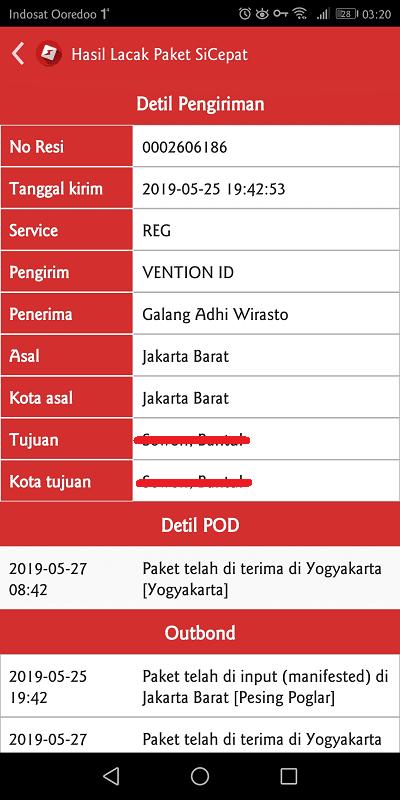 detil pengiriman barang dari aplikasi sicepat ekspres android