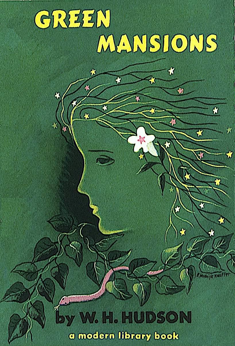 an E. McKnight Kauffer book cover illustration for Green Gardens by W.H. Hudson