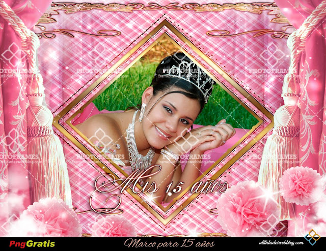 Pink Quinceanera Frame with Pink and Gold Elements