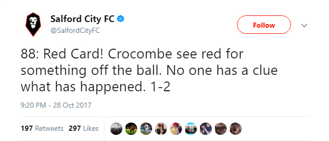 Salford City's Twitter account baffled by what happened with goalkeeper Max Crocombe