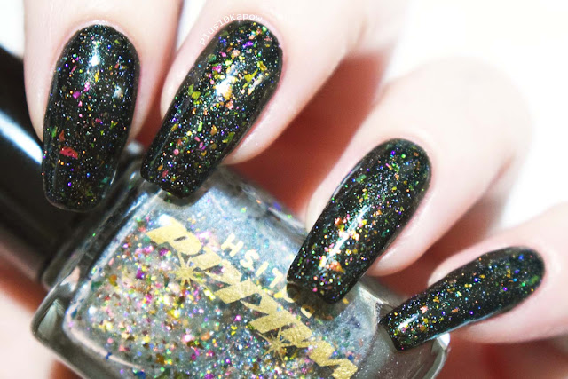 Wikkid Polish Gothic Collection Swatches Enchantment glow in the dark flakie topper