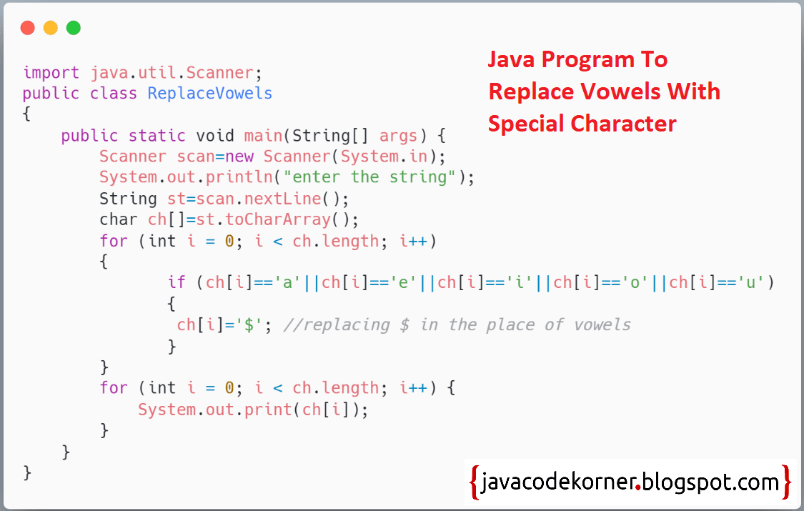 Java program to replace vowels with special character - Java