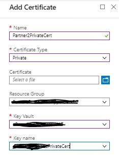 Add private certificate in Integration account