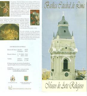 Panfleto da Catedral de Lima: Capa