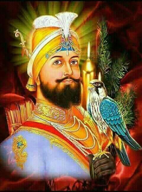 Guru Gobind Singh ji images with Baaz