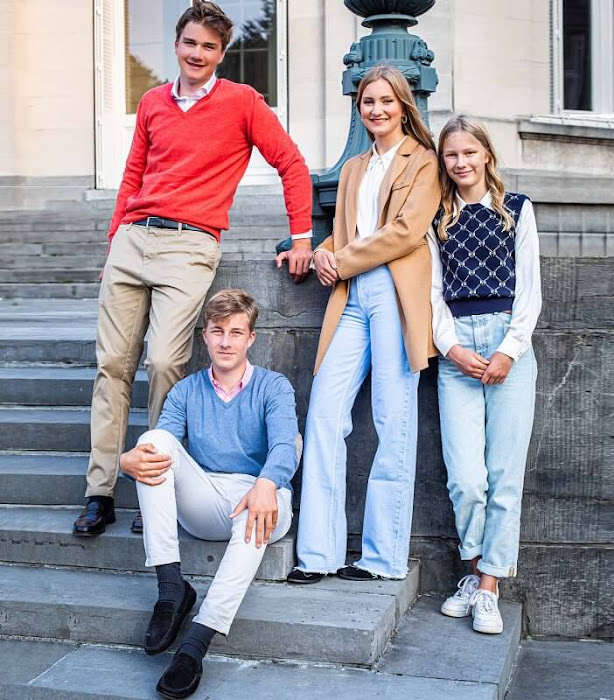 Crown Princess Elisabeth, Prince Gabriel, Prince Emmanuel and Princess Eleonore. Princess Elisabeth wore a cashmere jacket by Armani