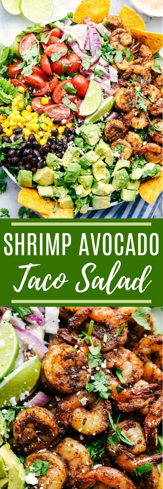 Shrimp Avocado Taco Salad #healthy #salad #glutenfree #lowcarb #diet