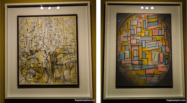 Obras de Mondrian expostas em Brasília: Pintura nº 4 (1913) e Composição com figura oval (1914)