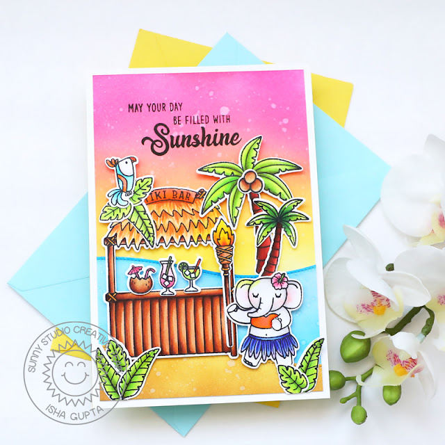 Sunny Studio Stamps: Tiki Time Beach Buddies Slimline Dies Beach Babies Seasonal Trees Beach Themed Card by Isha Gupta
