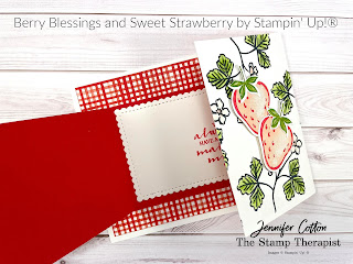 Berry Blessings and Berry Delightful Designer Series Paper Sale a Bration bundle; Sweet Strawberry Bundle (Strawberry Builder Punch) by Stampin' Up!®.  Video link and supply list on blog post.  #StampTherapist #Stampinup #FunFold