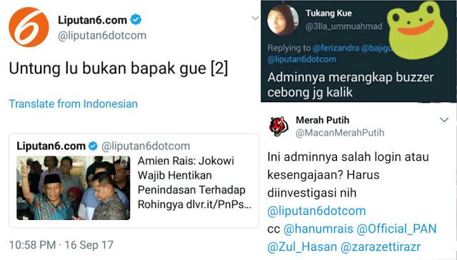 """Geger! Skandal Cuitan Akun Liputan 6 """"Untung Lu Bukan Bapak Gue"""", Netizen: Admin Merangkap Cebong?"""
