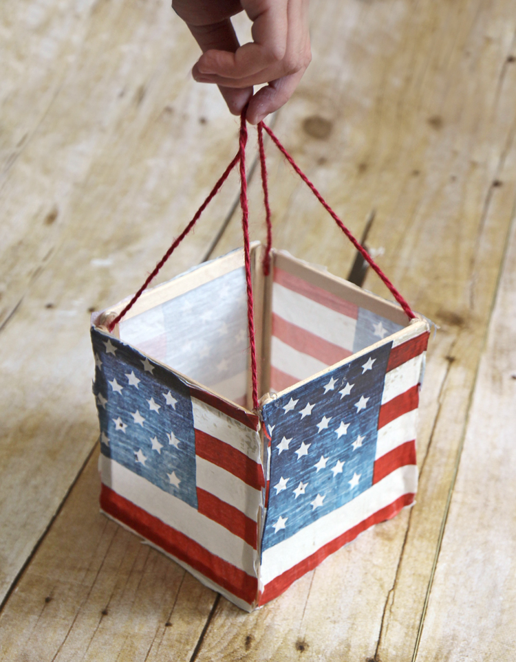 DIY Luminary from popsicle sticks and paper napkins