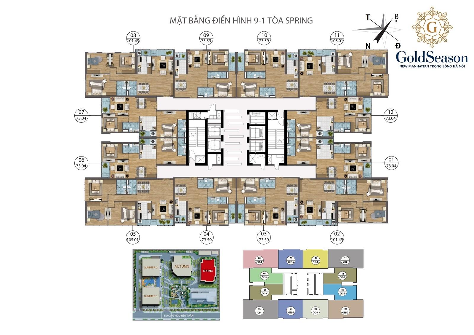 Thiết kế mặt bằng điển hình tòa spring của chung cư Goldseason