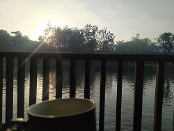 Coffee and sunrise at the the westlake resort yogyakarta