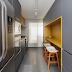 Cozinha corredor moderna cinza e amarela com bancada de granilite!