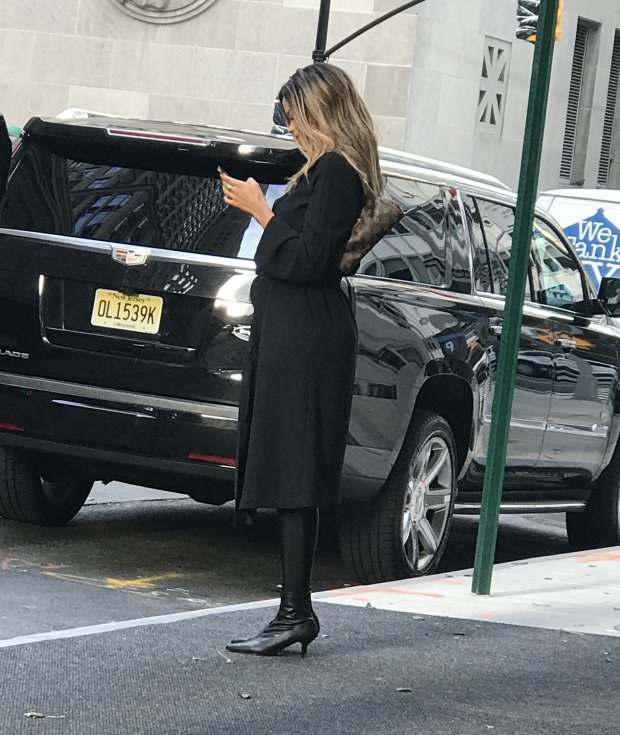 The woman pictured on 24 March leaving a hotel in New York