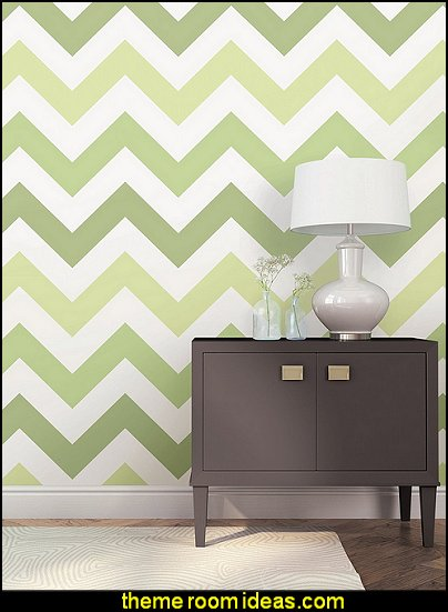 Green Zig Zag Peel and Stick Wallpaper