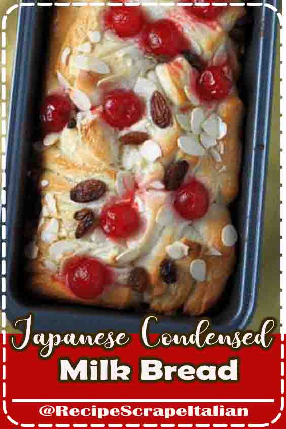Japanese Condensed Milk Bread is a delicious way to enjoy condensed milk, enclosed in a soft and sweet bread that is studded with raisins and cherries. #Chocolate #food #Dessert #Vegan #Healthy