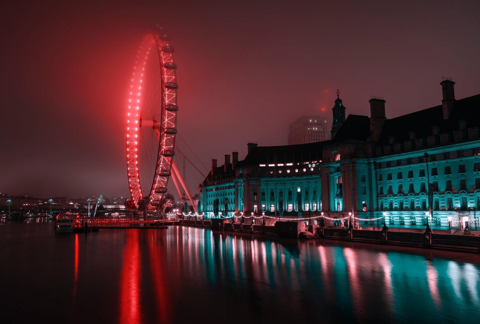 Amusement park, River Thames, Ferris Wheel, Green Neon, Night, Cityscape, World