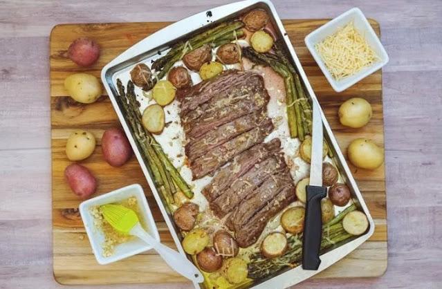Parmesan Crusted Steak and Potato Sheet Pan Dinner #easy #dinner