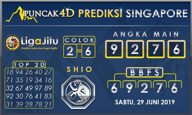 PREDIKSI TOGEL SINGAPORE PUNCAK4D 29 JUNI 2019