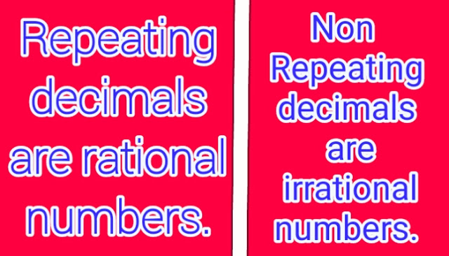 Repeating Decimals are Rational Numbers and Non-Repeating Decimals are Irrational Numbers