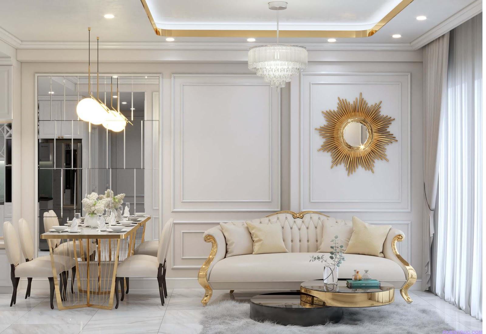 View render Nội thất phòng khách kiểu tân cổ điển