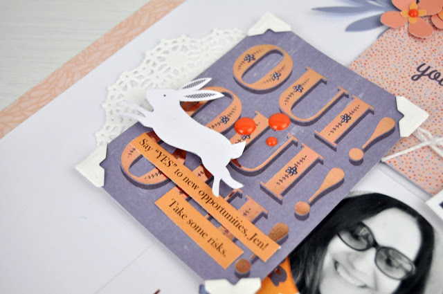 """Bonjour"" scrapbooking process video featuring the ""Je Ne Sais Quoi"" paper pad from JoAnn. #scrapbooks #scrapbooking #scrapbooklayout #jengallacher"