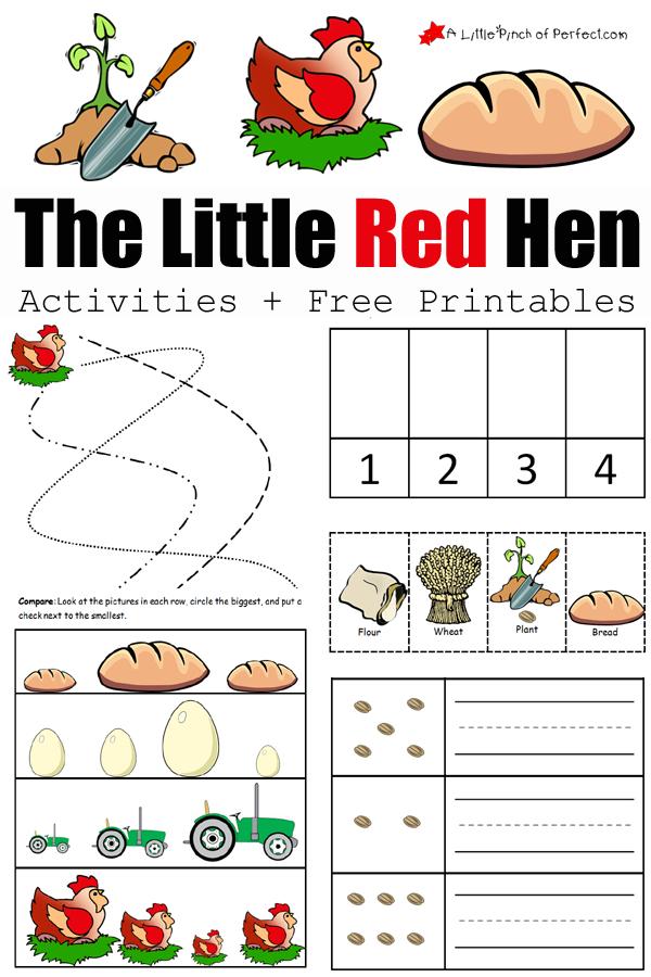 the little red hen writing activities for kindergarten