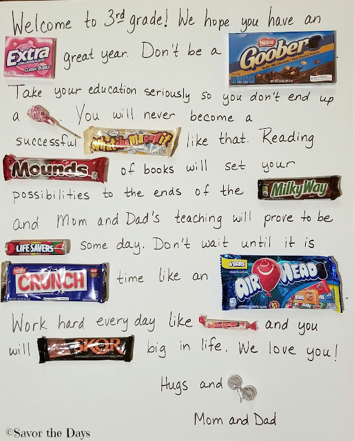 Back to School Candy Card