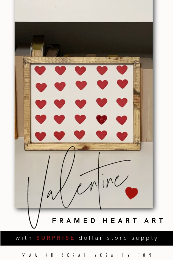 Valentine Heart Art - easy Valentine home decor made with heart paper punch and reverse canvas