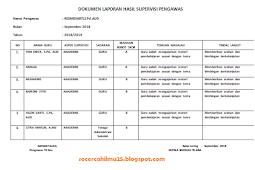 Contoh Dokumen Supervisi dari Pemilik/Yayasan/Pemerintah kepada Lembaga
