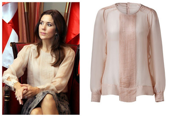 Crown Princess Mary wore Day Birger Et Mikkelsen Blouse. From exotic influences to the shimmery glamour of vintage styles