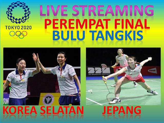 Link Live Streaming Olimpiade Perempat Final Bulutangkis Ganda Putri : S. Kim/H.Kong (Korea Selatan) Vs M. Matsumoto/W. Nagahara (Jepang) Jam. 15.00 WIB