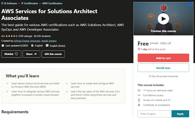 [100% Off] AWS Services for Solutions Architect Associates Worth 19,99$