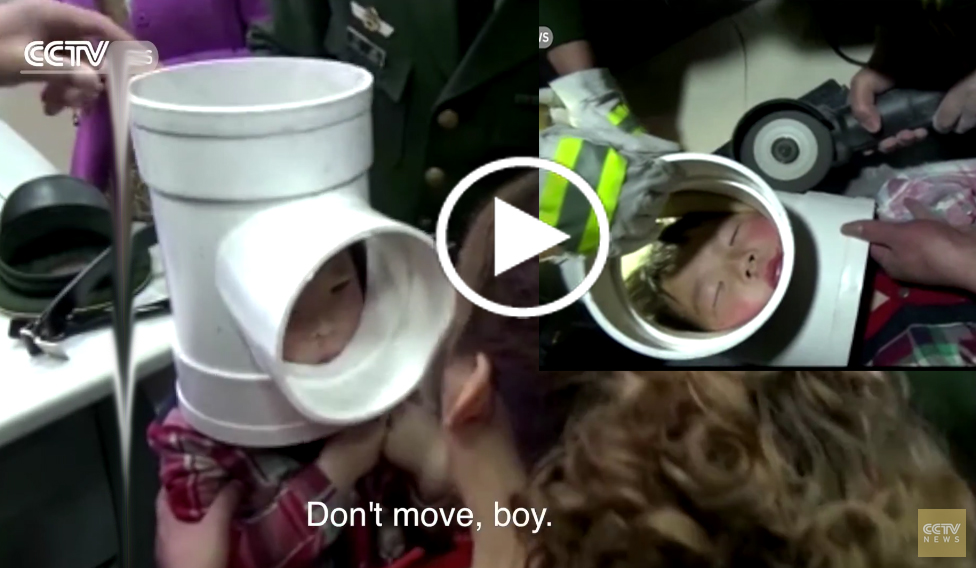 boy gets head stuck in plastic water pipe | NEW NEPAL