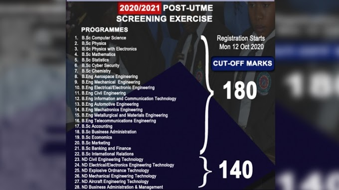 Air Force Institute of Technology (AFIT), Kaduna POST-UTME 2020/2021 Registration