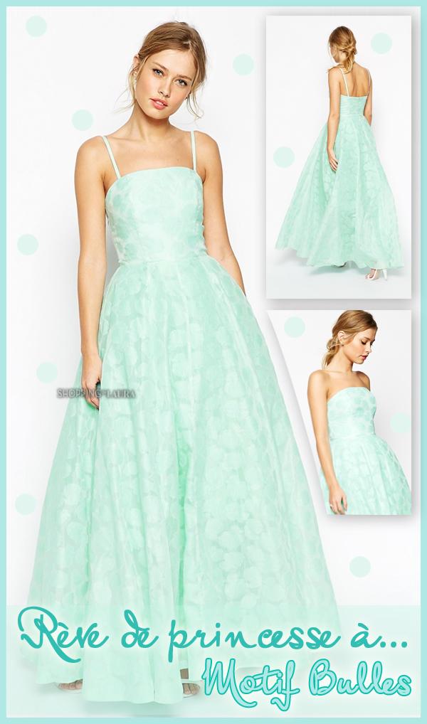 Robe de soirée forme princesse vert d'eau motif bulle ASOS